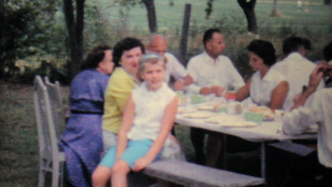 Girl At Family Summer Picnic 1962 Vintage 8mm film Footage