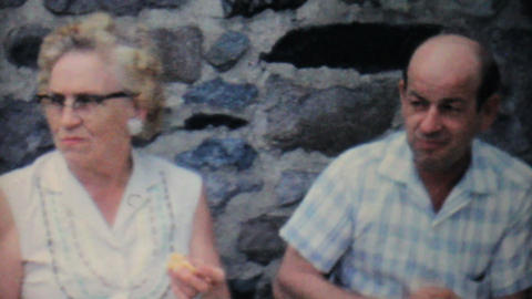 Grandparents At Family Summer Picnic 1962 Vintage Stock Video Footage