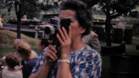 Lady Filming Summer Picnic 1962 Vintage 8mm Film stock footage
