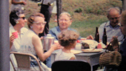 Lady Filming Summer Picnic 1962 Vintage 8mm film Stock Video Footage