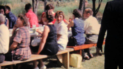 People Eating At Summer Family Picnic 1962 Vintage Stock Video Footage