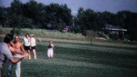 Playing Baseball At Family Reunion 1962 Vintage Stock Video Footage