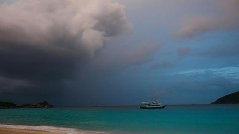 Evening On Ocean. Timelapse Stock Video Footage