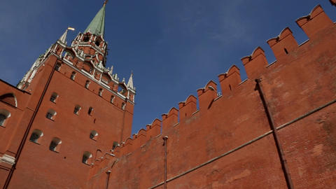 Moscow kremlin wall panorama Footage