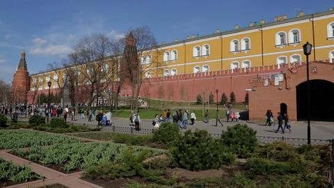 Moscow kremlin wall panorama Stock Video Footage
