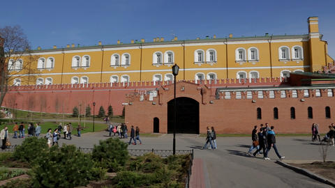 Moscow kremlin wall panorama Stock Video Footage