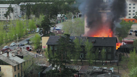 Wooden residential house in fire. Russia Footage
