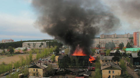 Wooden residential house in fire. Russia Stock Video Footage