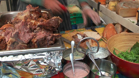 preparing farmers lunch sandwich Stock Video Footage