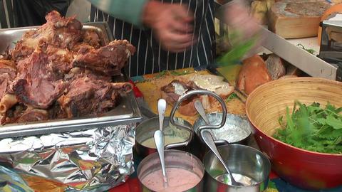 preparing farmers lunch sandwich Footage