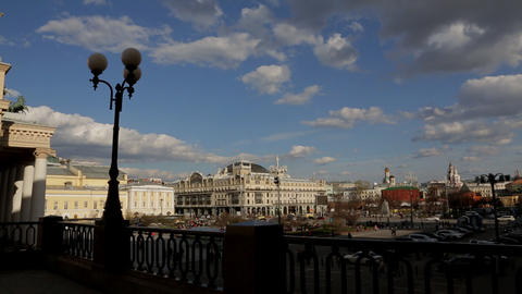 Moscow Theater Square panorama Stock Video Footage