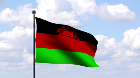 Animated Flag of Malawi Stock Video Footage