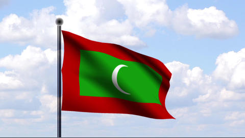 Animated Flag of Maldives / Malediven Stock Video Footage