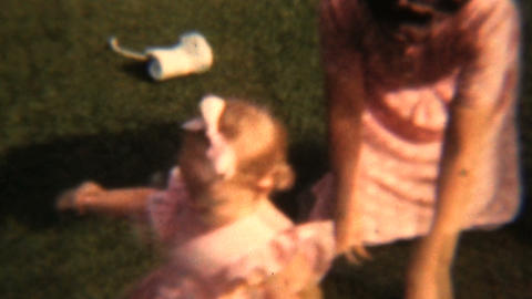 Mother Plays With Her Girls In Summer 1943 Vintage Stock Video Footage