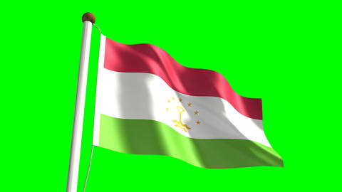 Tajikistan flag (seamless & green screen) Animation