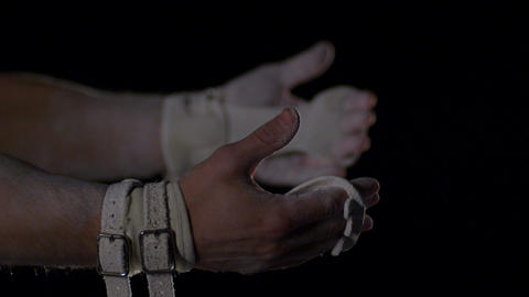 Hands of gymnasts Stock Video Footage