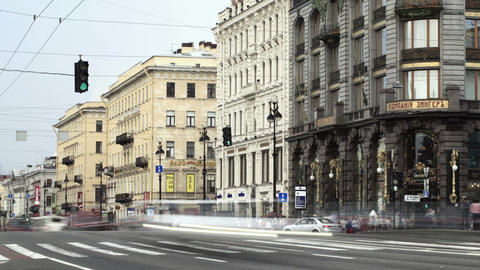 Time lapse of the pedestrian crossing on the Nevsk Stock Video Footage