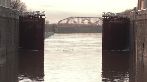 Opening gate in the lock. River Volga Stock Video Footage