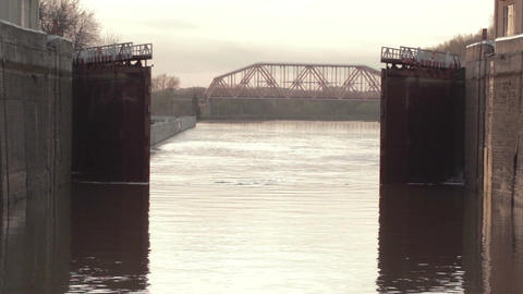 Opening gate in the lock. River Volga Footage