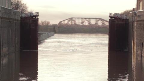Opening gate in the lock. River Volga Stock Video Footage