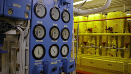Boat interior with control panel instruments 1 Stock Video Footage
