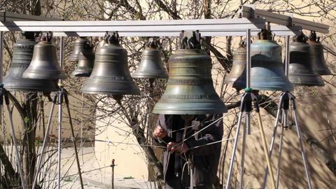 Bellringer rings the bells. Yaroslavl, Russia Stock Video Footage