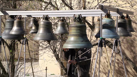 Bellringer rings the bells. Yaroslavl, Russia Footage