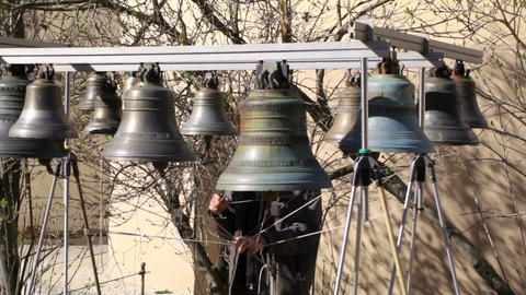 Bellringer rings the bells. Yaroslavl, Russia Stock Video Footage