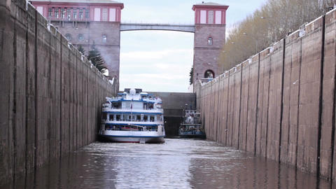Boat in the lock Footage