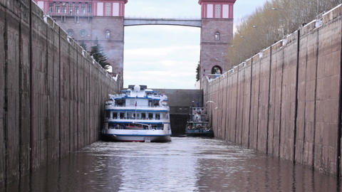 Boat in the lock Stock Video Footage