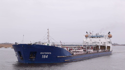 Oil tanker sails on the Volga river Stock Video Footage