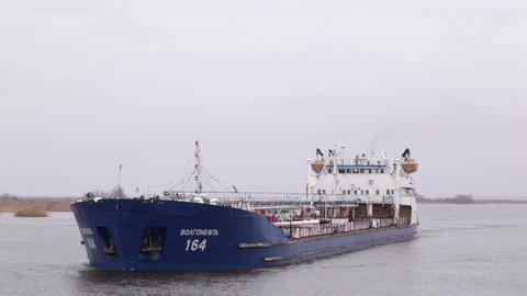 Oil tanker sails on the Volga river Footage