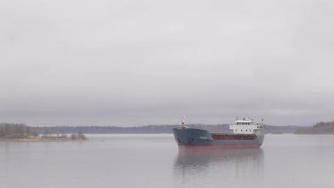 Cargo ship sailing on the Volga river in the fog Footage