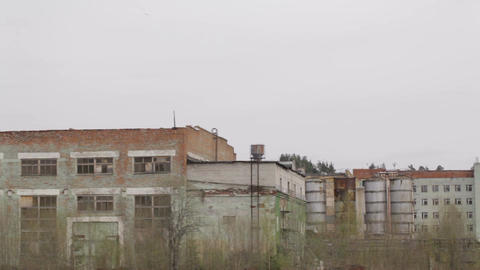 Old rusty cranes at the abandoned factory Stock Video Footage