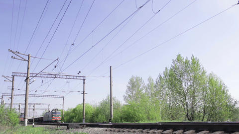 Freight train shot from low angle in the morning Stock Video Footage