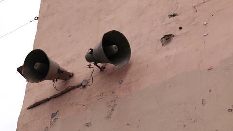 Loudspeaker on the wall in Saint-Petersburg, Russi Stock Video Footage