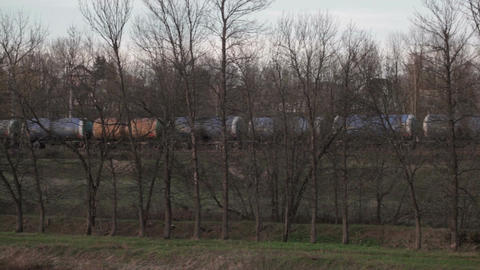 Set of tanks with oil and fuel transport by rail Stock Video Footage