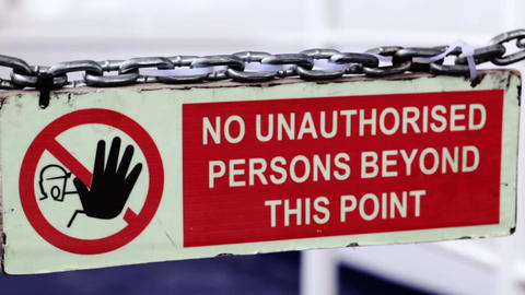Sign - No unauthorized persons permitted beyond th Stock Video Footage