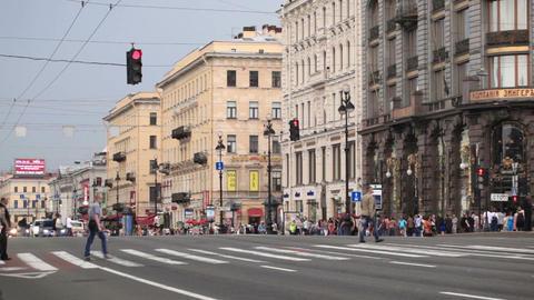 Pedestrian crosswalks on the Nevsky Avenue in Sain Stock Video Footage
