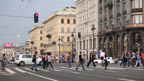 Pedestrian crosswalks on the Nevsky Avenue in Sain Stock Video Footage
