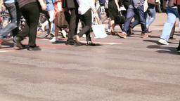 People crowd on zebra crossing street Stock Video Footage
