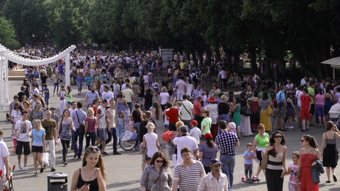 People walking at Park Kultury at the Children's d Stock Video Footage