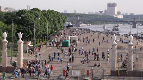 People walking at Park Kultury in Moscow, Russia Stock Video Footage