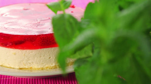 Cheesecake with strawberries and jelly Stock Video Footage