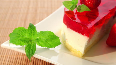 Cheese cake with strawberries - dolly shot Stock Video Footage