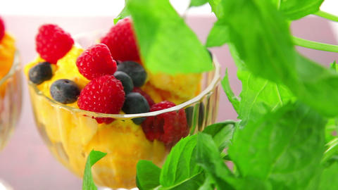 Orange ice cream and fruits - dolly shot Stock Video Footage