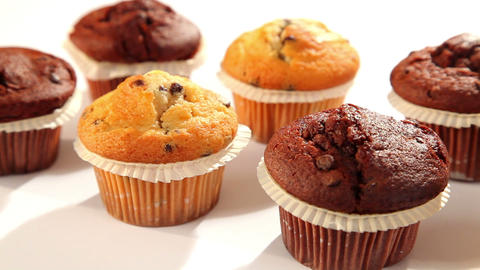 Tasty chocolate muffins with chocolate Stock Video Footage