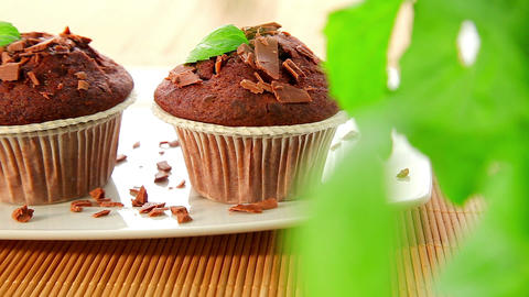Delicious Muffins With Chocolate - Dolly Shot stock footage