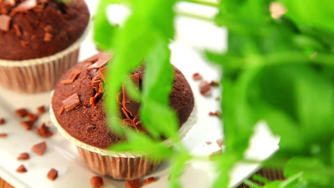 Muffins with chocolate - dolly shot Stock Video Footage