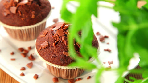 Muffins With Chocolate - Dolly Shot stock footage